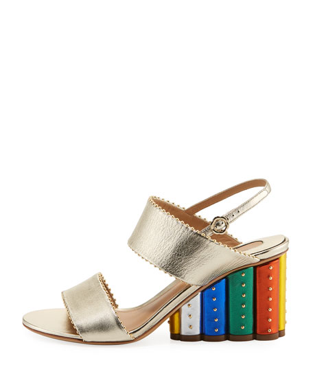 Metallic City Sandal with Rainbow Heel