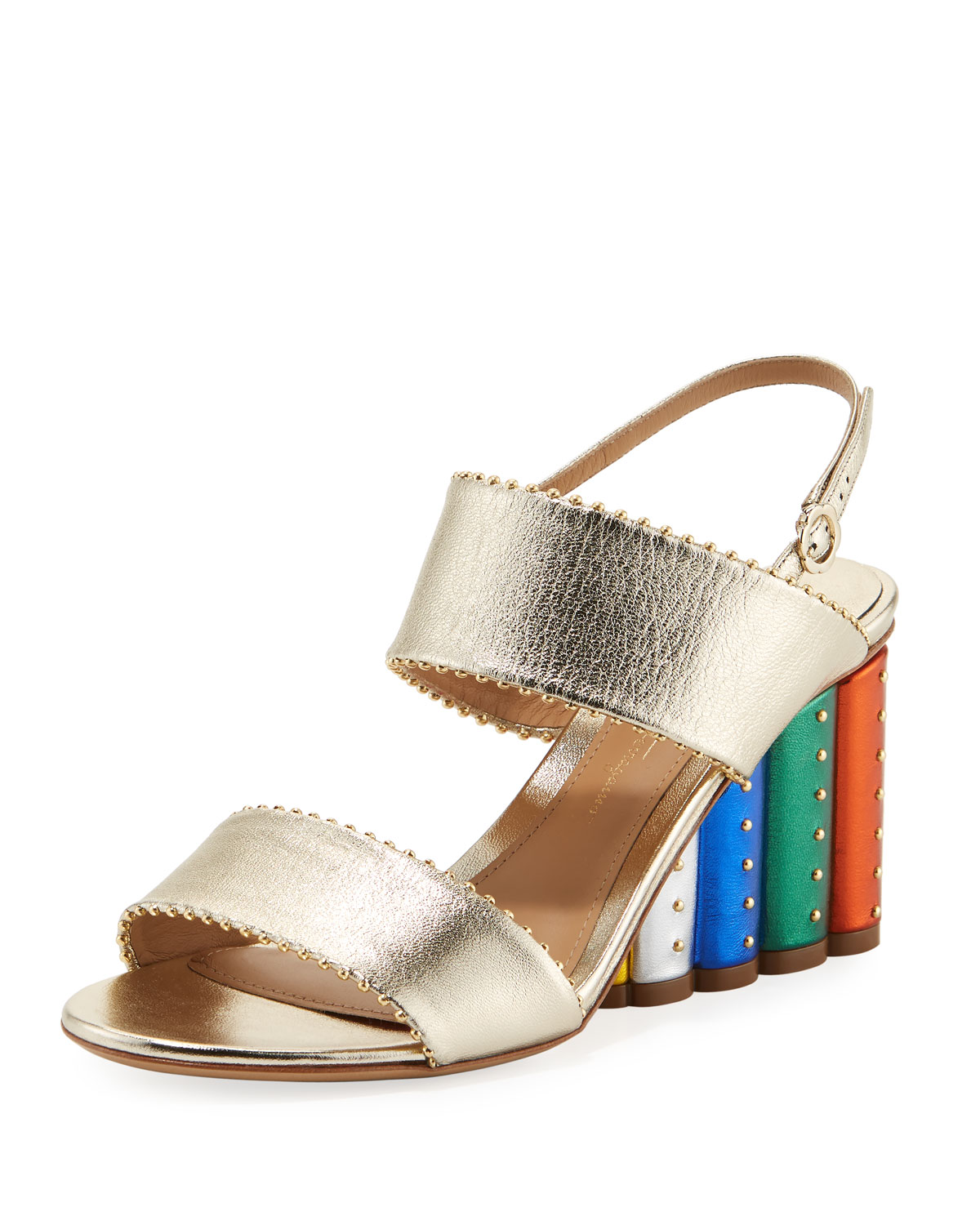 4ebb4361331 Salvatore Ferragamo Metallic City Sandal with Rainbow Heel