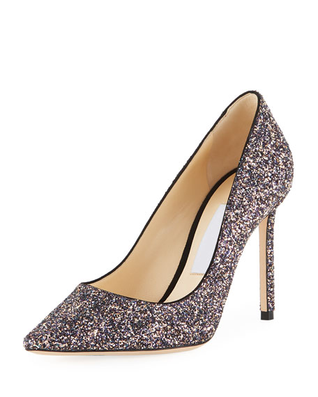 Jimmy Choo Romy 100mm Coarse Glitter Fabric Pumps