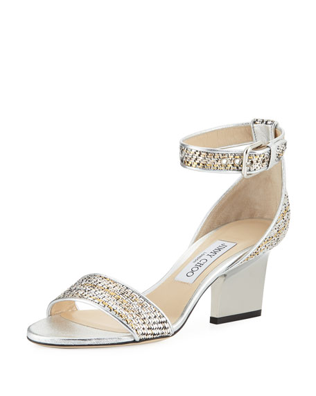 Jimmy Choo Edina 65mm Woven Metallic Sandal