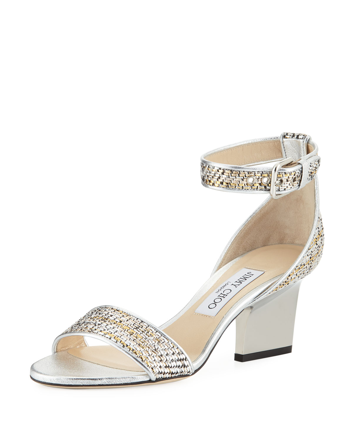 77fd64cad2c1 Jimmy Choo Edina 65mm Woven Metallic Sandal