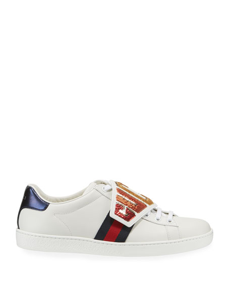 Ace Rainbow Gucci Patch Leather Low-Top Sneakers