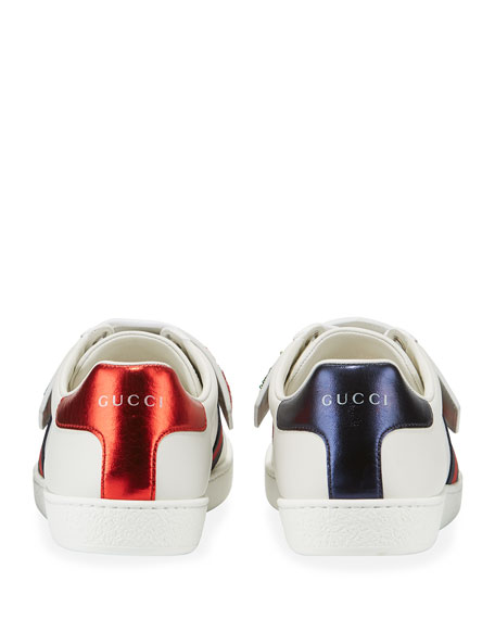 Rainbow Gucci Patch Leather Low-Top Sneakers