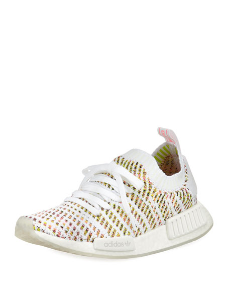Adidas NMD R1 Primeknit Sneakers, White/Yellow/Pink