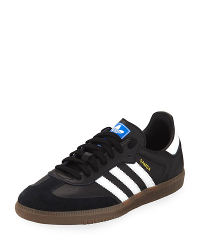 Samba Original Leather/Suede Sneakers, Black/White