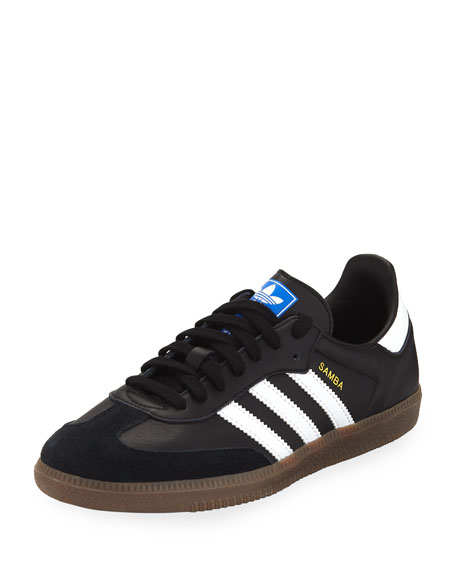 Adidas Samba Original Leather/Suede Sneakers, Black/White
