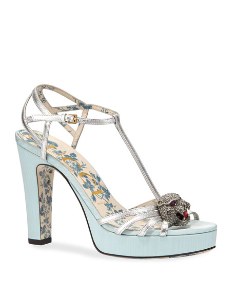 Gucci Moire-Platform Sandal with Feline Head Ornament