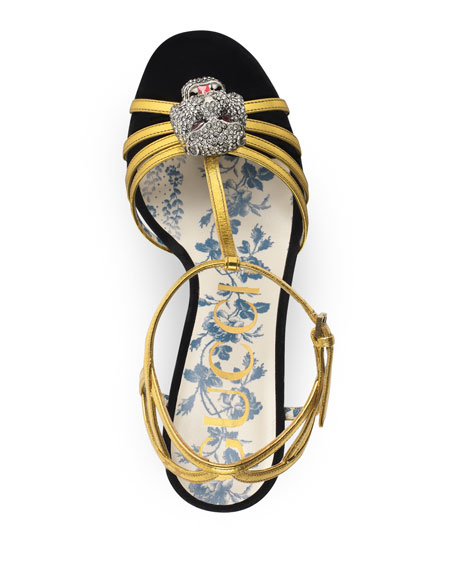 Velvet-Platform Sandal with Feline Head Ornament