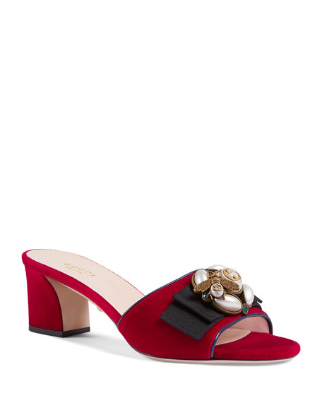 Velvet Mid-Heel Slides With Bee, Red