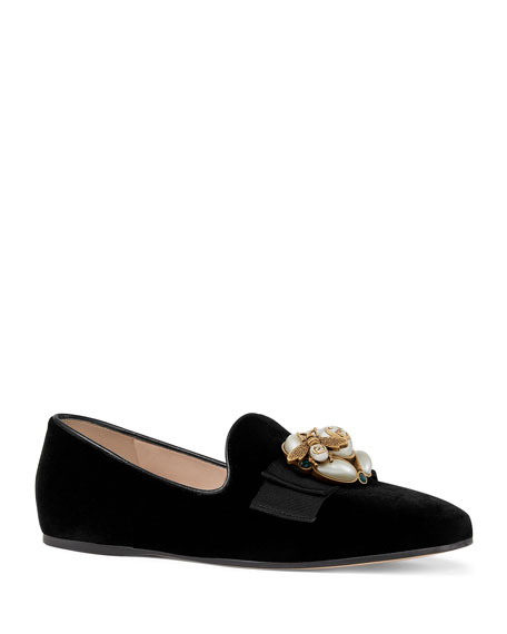 Gucci Flat Velvet Smoking Slipper with Bee Brooch