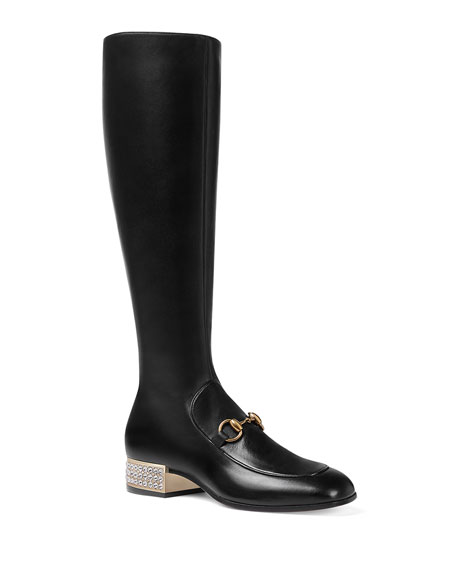 Women'S Mister Leather & Crystal Heel Tall Boots, Nero