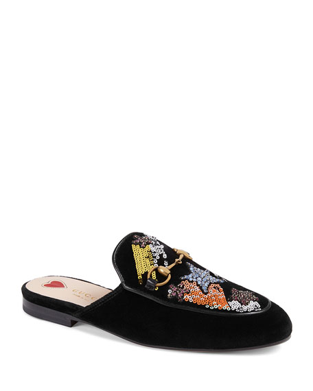 Princetown Embroidered Velvet Slippers