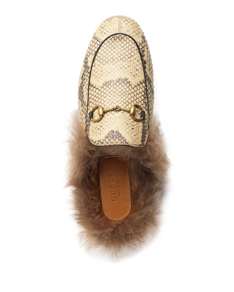 Fur-Lined Python Mule Slipper