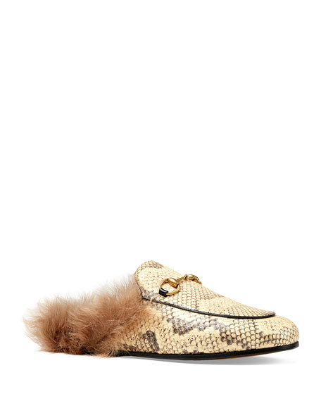 Gucci Fur-Lined Python Mule Slipper