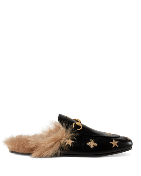 Bee and Star Fur-Lined Flat Mule