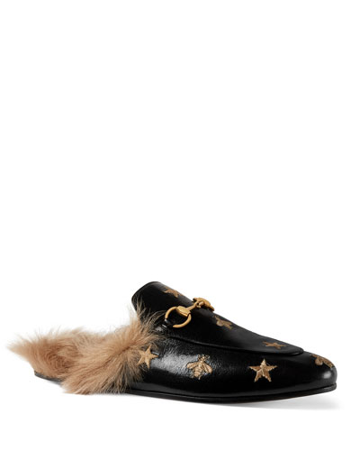 Princetown Embroidered Leather Mule With Fur
