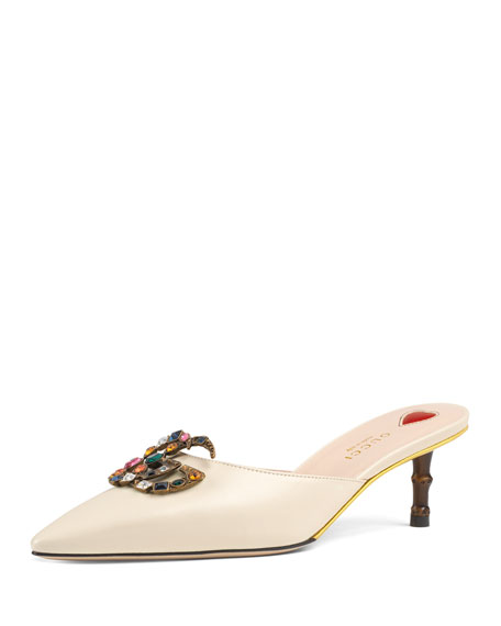Gucci Leather Embellished Mule