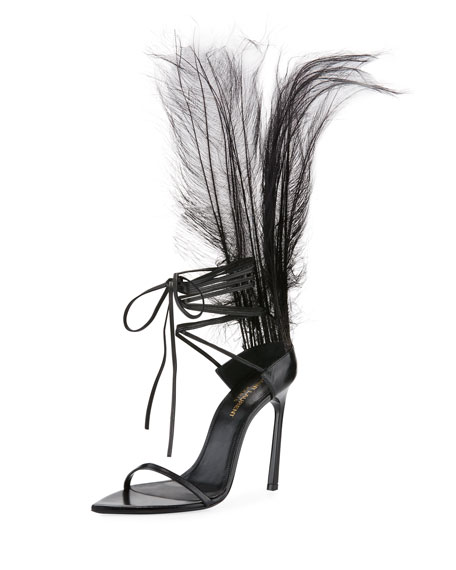 Saint Laurent Iris Patent Sandal with Feathers