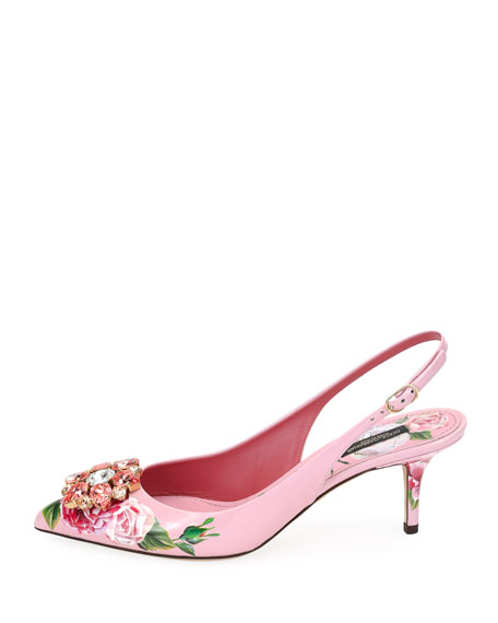Jeweled Floral-Print Patent Leather Slingback Pumps