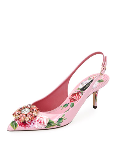 Jeweled Floral-Print Patent Leather Slingback Pump