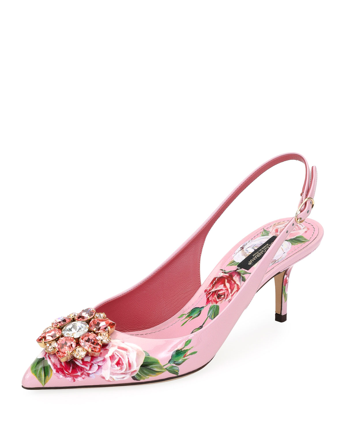 6a07e7cb28a Dolce   Gabbana Jeweled Floral-Print Patent Leather Slingback Pumps ...