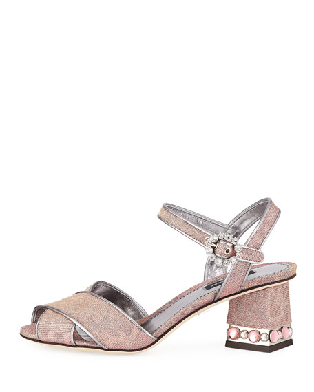 Quarter-Strap Glitter Jeweled Sandals
