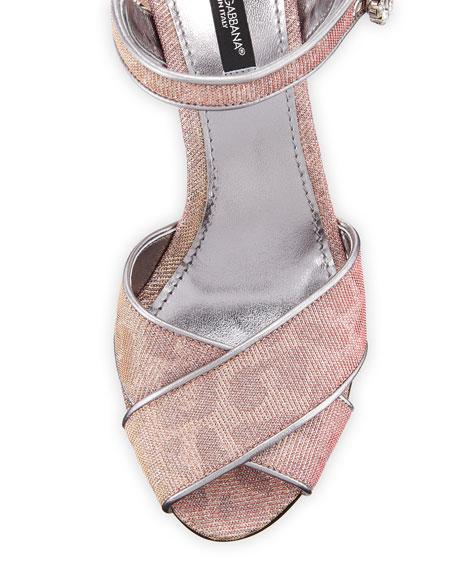 Quarter-Strap Glitter Jeweled Sandals