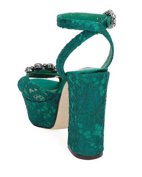 Embellished Lace Platform Sandal