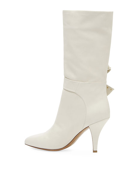 Mid-Calf Leather Booties with Side Bow