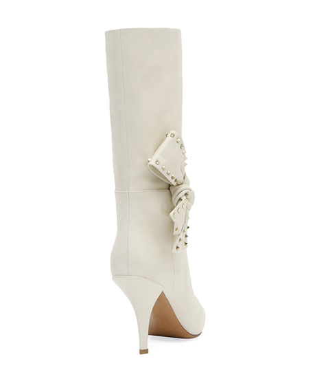 Mid-Calf Leather Bootie with Side Bow