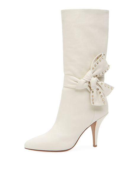 Mid Calf Leather Bootie With Side Bow by Valentino Garavani