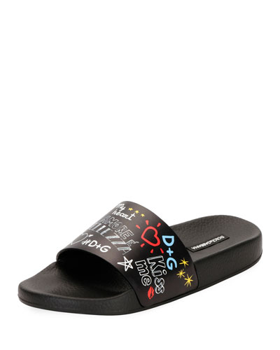 Graffiti-Print Leather Pool Slide Sandal