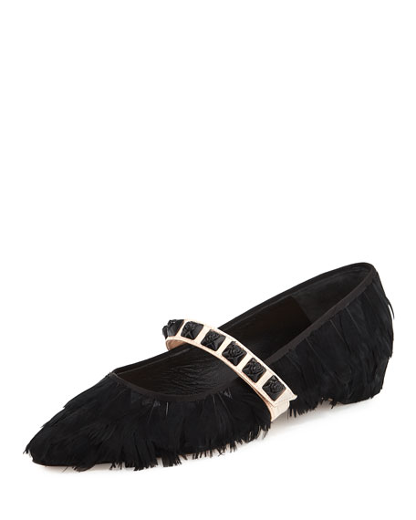 Feathery Mary Jane Ballet Flat