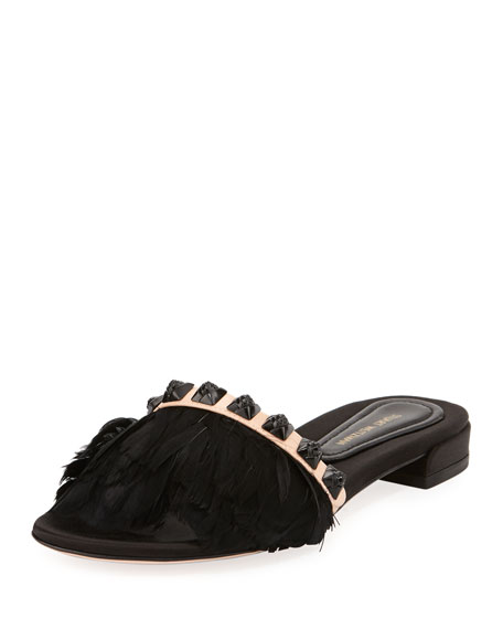 Stuart Weitzman Lando Feather Slide Sandal