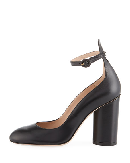 Pasadena Block-Heel Leather Ankle-Wrap Pumps