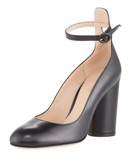 Stuart Weitzman Pasadena Block-Heel Leather Ankle-Wrap Pump