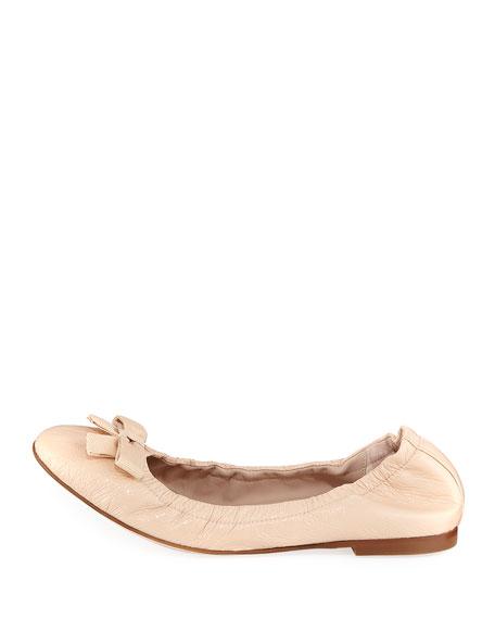 Raven Crinkled Patent Bow-Toe Ballet Flat