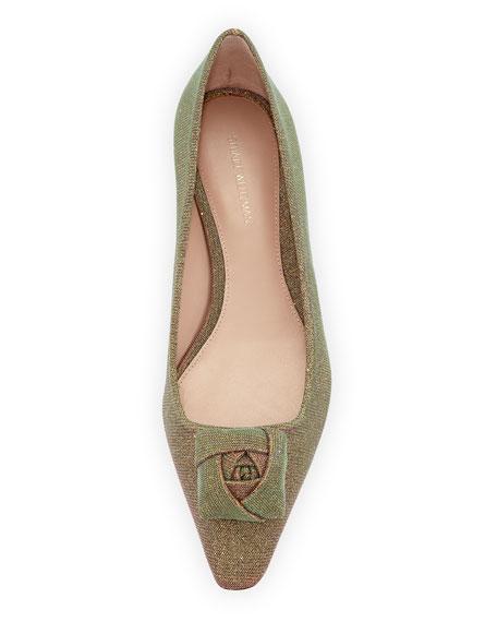 Rose Low-Heel Iridescent Fabric Pump