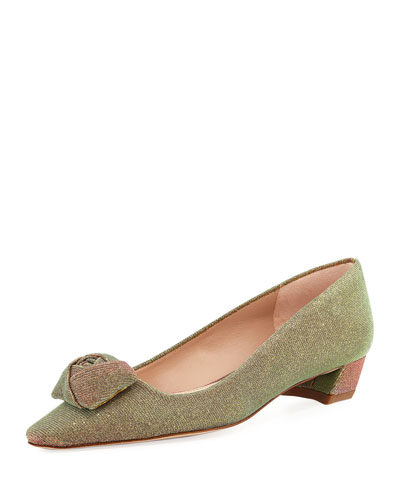 Rose Low-Heel Iridescent Fabric Pump