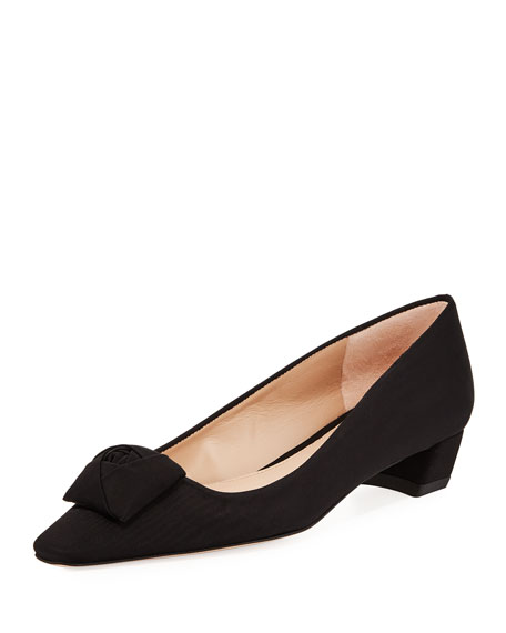 Rose Low-Heel Grosgrain Pump