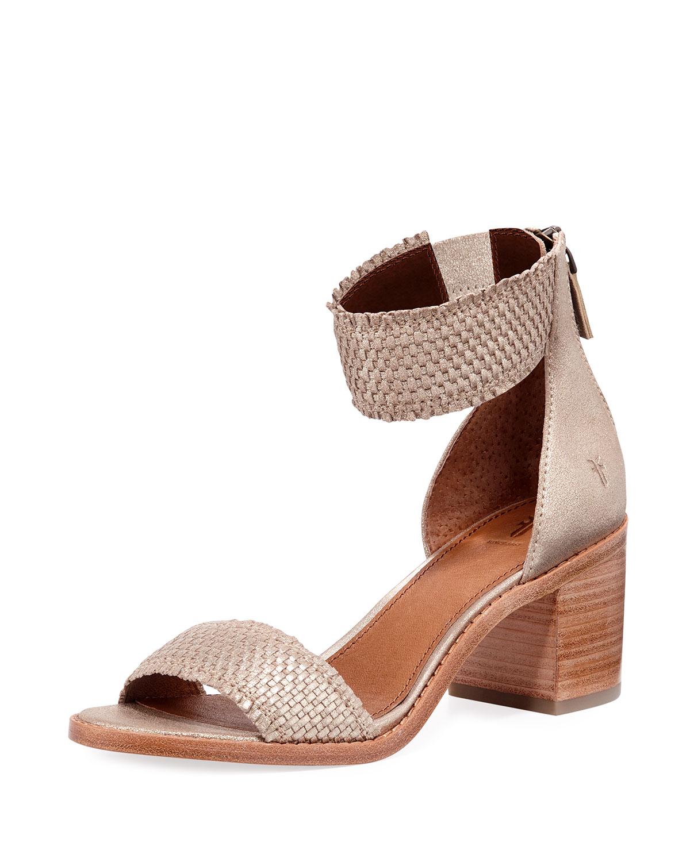 ed8cce38789d Frye Bianca Woven Goatskin Ankle-Cuff Sandal