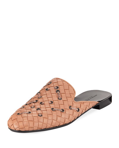 Woven Leather Mule Flat with Snakeskin Stitching