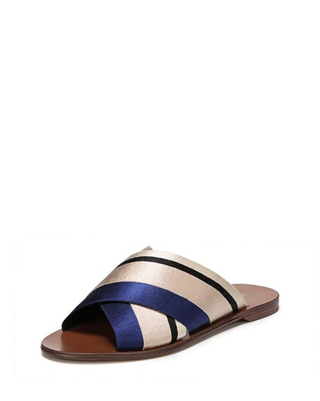 Bailie-3 Striped Crisscross Flat Slide Sandal