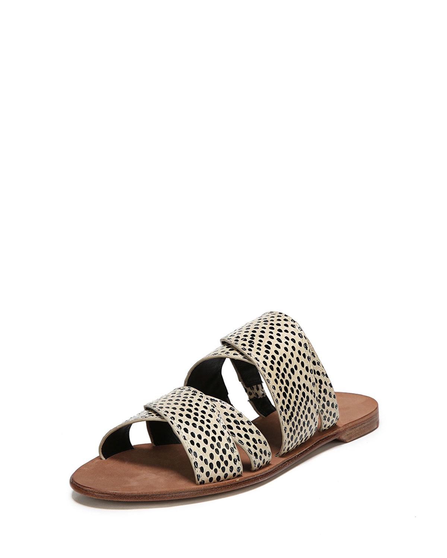 70a209e5260f Diane von Furstenberg Blake Flat Snakeskin Banded Slide Sandal ...