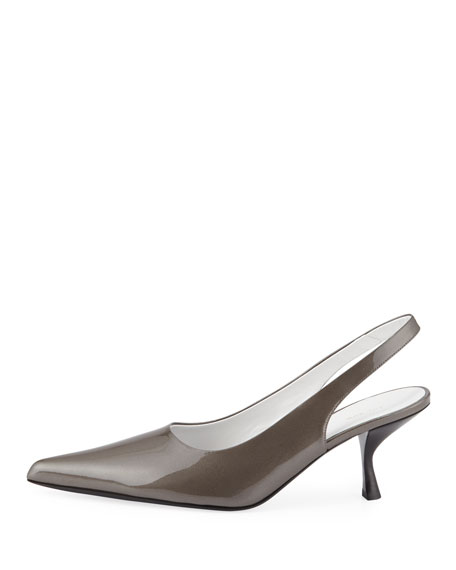 Patent Bourgeoisie Slingback Pumps