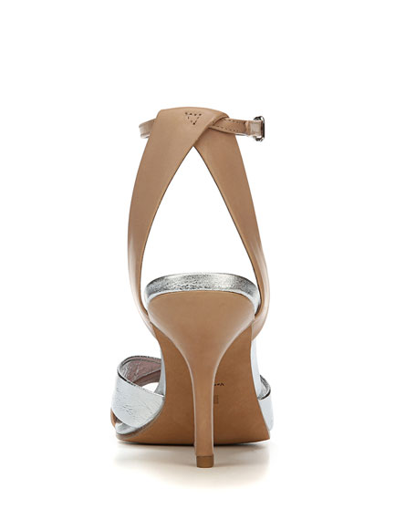 Fiona Matte/Metallic Leather Ankle-Strap Sandal