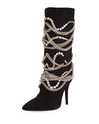 Suede Mid-Calf Boot with Chain Detail