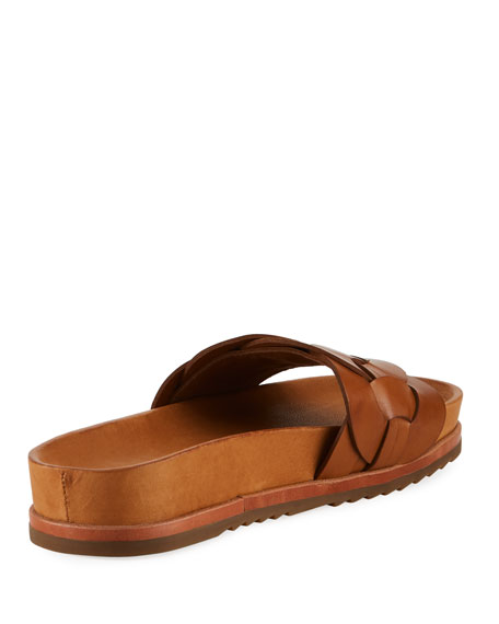 Lily Woven Ring Pool Slide Sandals, Tan