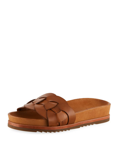 Lily Woven Ring Pool Slide Sandal, Tan