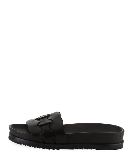 Lily Woven Ring Pool Slide Sandals, Black